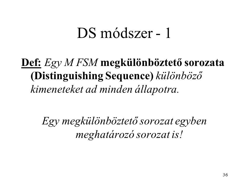 36 DS módszer - 1 Def: Egy M FSM megkülönböztető sorozata (Distinguishing Sequence) különböző kimeneteket ad minden állapotra. Egy megkülönböztető sor