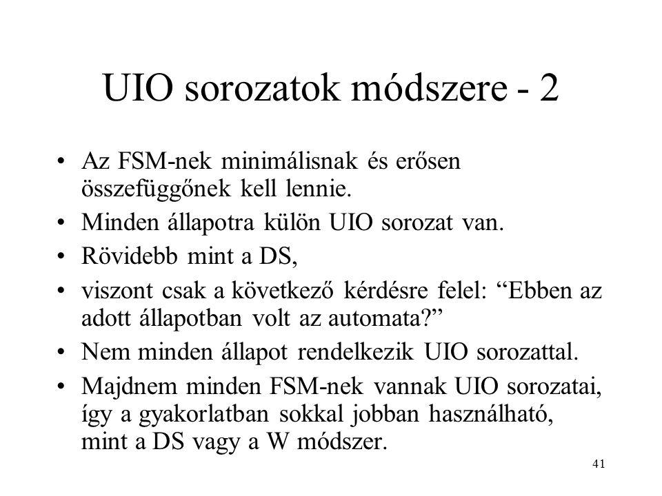 41 UIO sorozatok módszere - 2 Az FSM-nek minimálisnak és erősen összefüggőnek kell lennie. Minden állapotra külön UIO sorozat van. Rövidebb mint a DS,