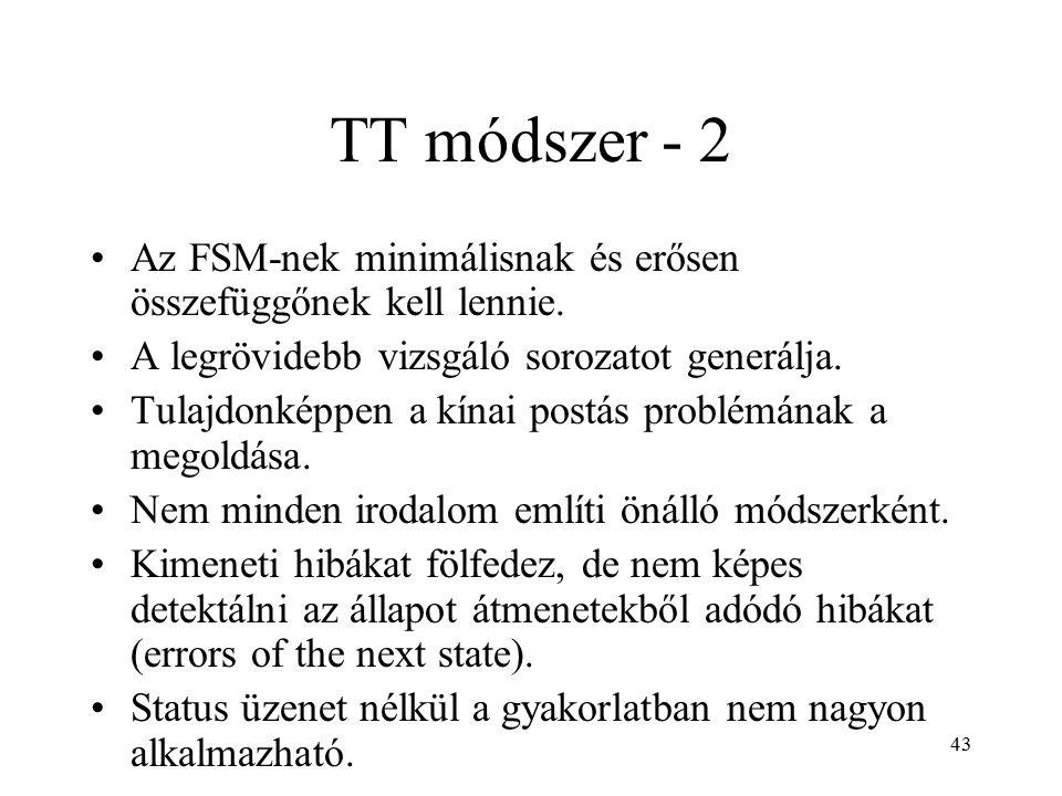 43 TT módszer - 2 Az FSM-nek minimálisnak és erősen összefüggőnek kell lennie. A legrövidebb vizsgáló sorozatot generálja. Tulajdonképpen a kínai post