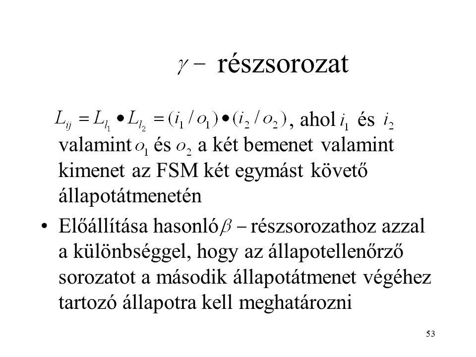 53, ahol és valamint és a két bemenet valamint kimenet az FSM két egymást követő állapotátmenetén Előállítása hasonló részsorozathoz azzal a különbség