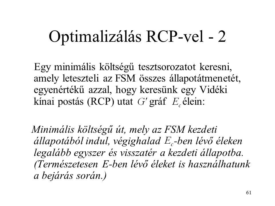 61 Optimalizálás RCP-vel - 2 Egy minimális költségű tesztsorozatot keresni, amely leteszteli az FSM összes állapotátmenetét, egyenértékű azzal, hogy k