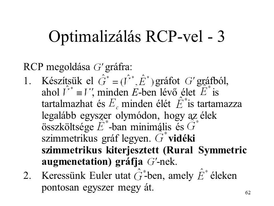 62 Optimalizálás RCP-vel - 3 RCP megoldása gráfra: 1.Készítsük el gráfot gráfból, ahol, minden E-ben lévő élet is tartalmazhat és minden élét is tarta