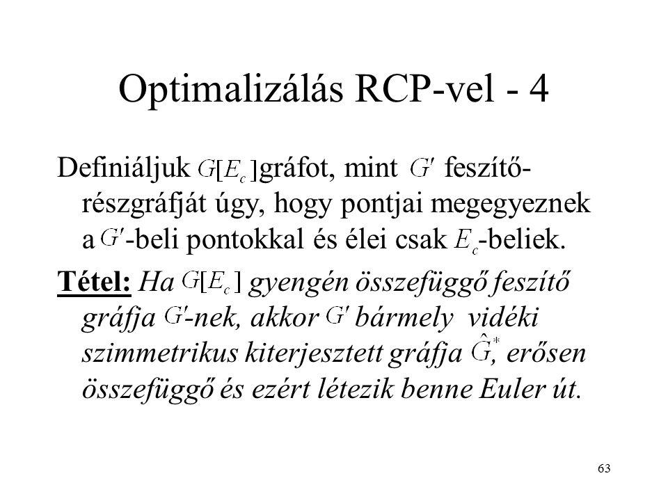 63 Optimalizálás RCP-vel - 4 Definiáljuk gráfot, mint feszítő- részgráfját úgy, hogy pontjai megegyeznek a -beli pontokkal és élei csak -beliek. Tétel