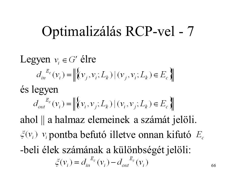 66 Optimalizálás RCP-vel - 7 Legyen élre és legyen ahol || a halmaz elemeinek a számát jelöli. pontba befutó illetve onnan kifutó -beli élek számának