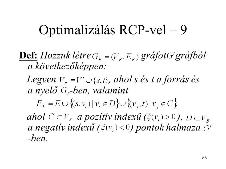 68 Optimalizálás RCP-vel – 9 Def: Hozzuk létre gráfot gráfból a következőképpen: Legyen, ahol s és t a forrás és a nyelő -ben, valamint ahol a pozitív