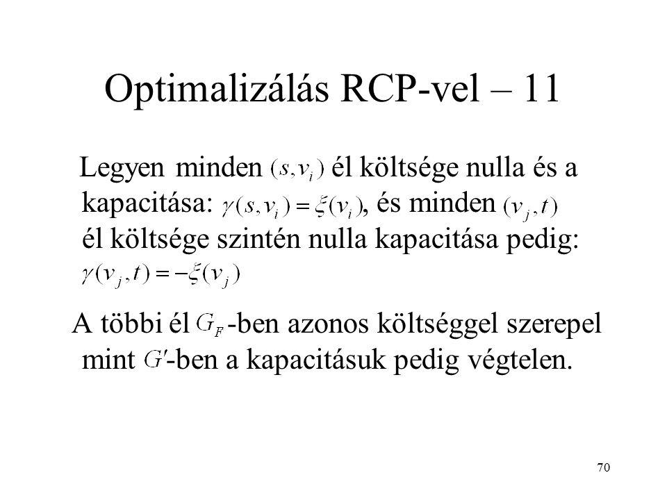 70 Optimalizálás RCP-vel – 11 Legyen minden él költsége nulla és a kapacitása:, és minden él költsége szintén nulla kapacitása pedig: A többi él -ben