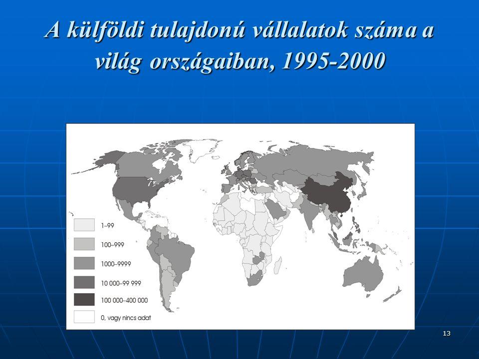 13 A külföldi tulajdonú vállalatok száma a világ országaiban, 1995-2000