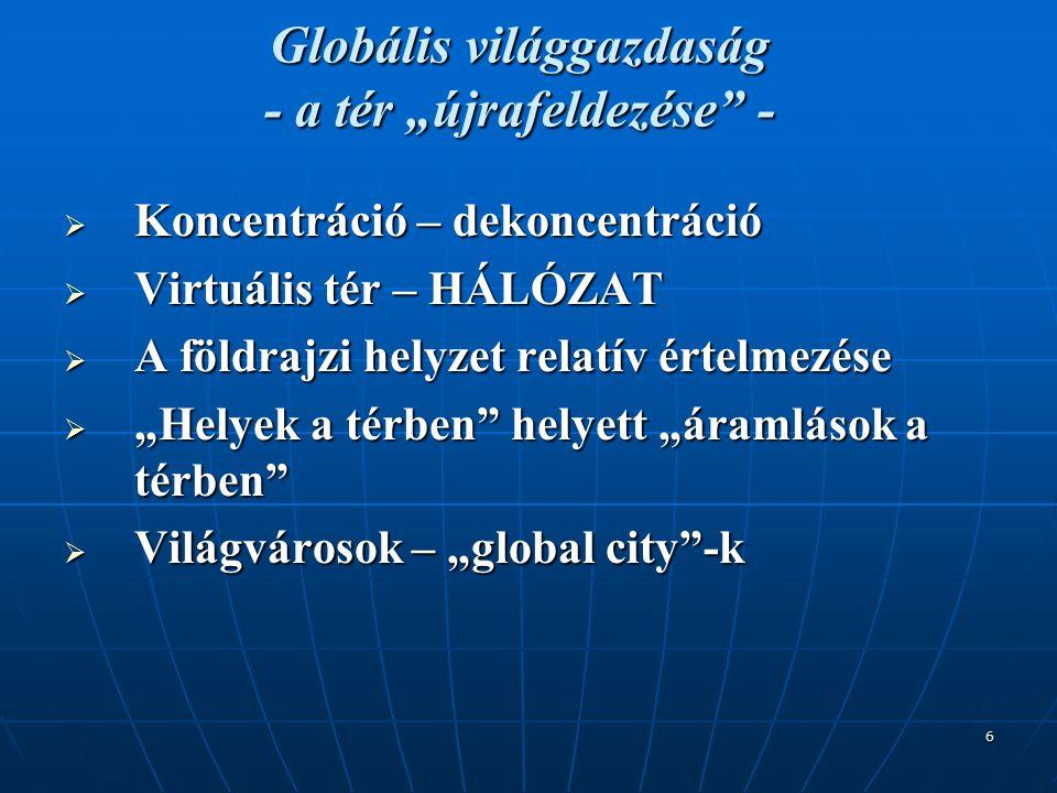 """6 Globális világgazdaság - a tér """"újrafeldezése -  Koncentráció – dekoncentráció  Virtuális tér – HÁLÓZAT  A földrajzi helyzet relatív értelmezése  """"Helyek a térben helyett """"áramlások a térben  Világvárosok – """"global city -k"""