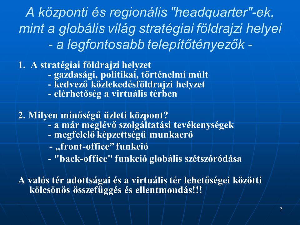 7 A központi és regionális headquarter -ek, mint a globális világ stratégiai földrajzi helyei - a legfontosabb telepítőtényezők - 1.