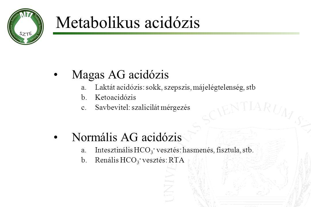 Magas AG acidózis a.Laktát acidózis: sokk, szepszis, májelégtelenség, stb b.Ketoacidózis c.Savbevitel: szalicilát mérgezés Normális AG acidózis a.Inte