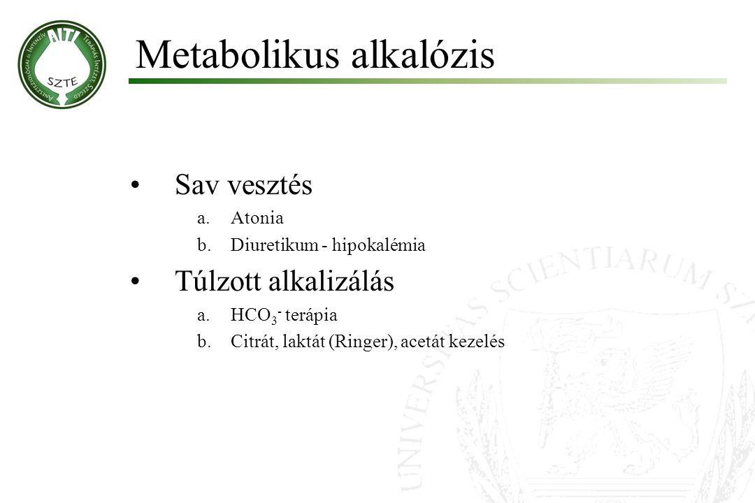 Sav vesztés a.Atonia b.Diuretikum - hipokalémia Túlzott alkalizálás a.HCO 3 - terápia b.Citrát, laktát (Ringer), acetát kezelés Metabolikus alkalózis
