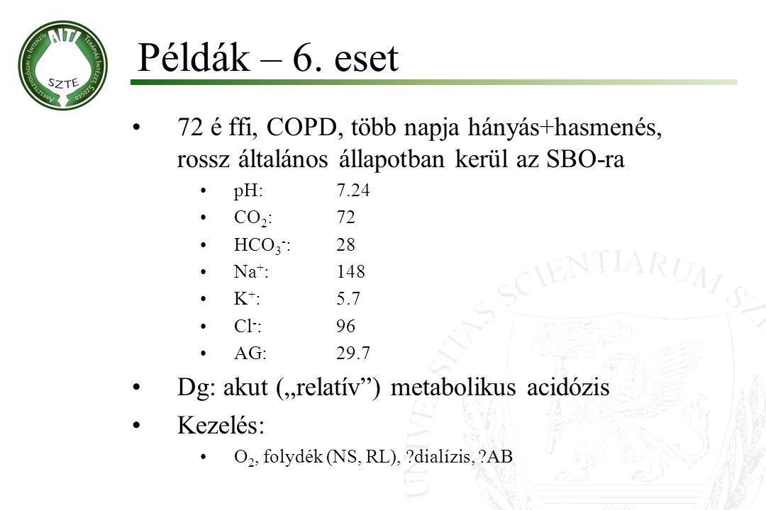 72 é ffi, COPD, több napja hányás+hasmenés, rossz általános állapotban kerül az SBO-ra pH:7.24 CO 2 :72 HCO 3 - :28 Na + :148 K + :5.7 Cl - :96 AG:29.