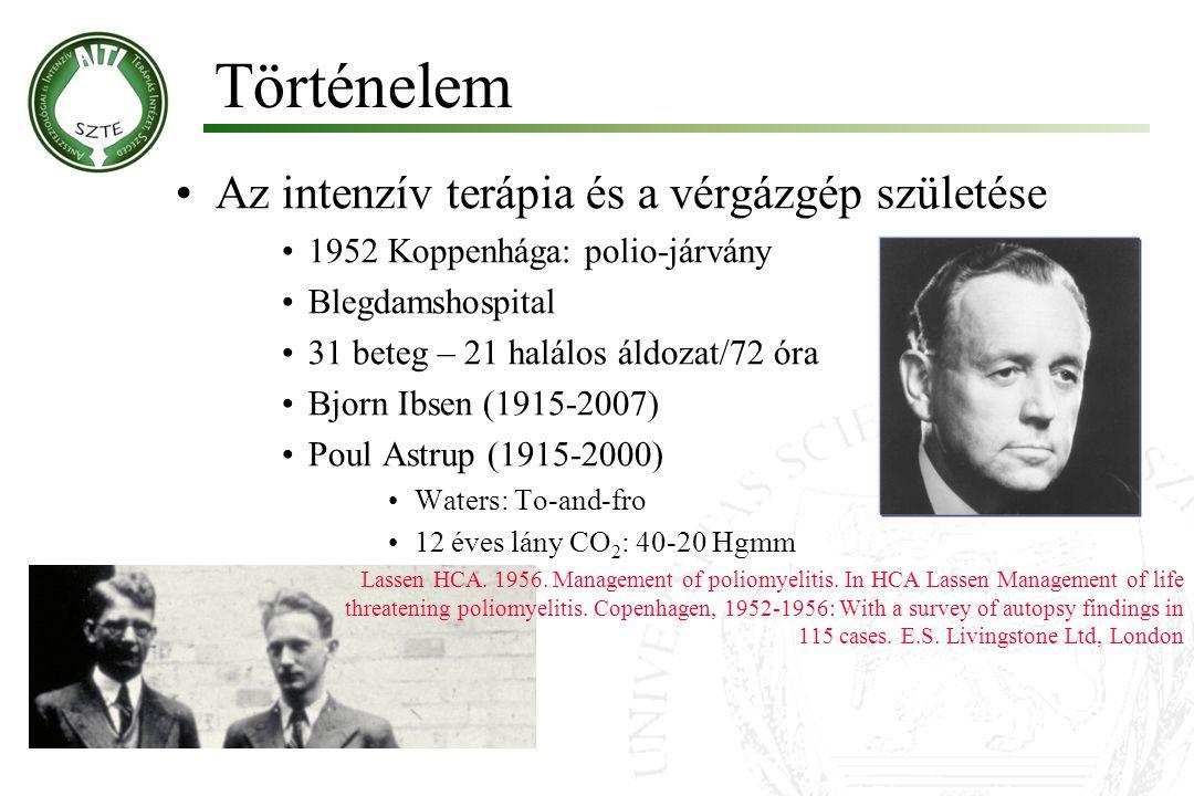 Történelem Az intenzív terápia és a vérgázgép születése 1952 Koppenhága: polio-járvány Blegdamshospital 31 beteg – 21 halálos áldozat/72 óra Bjorn Ibs