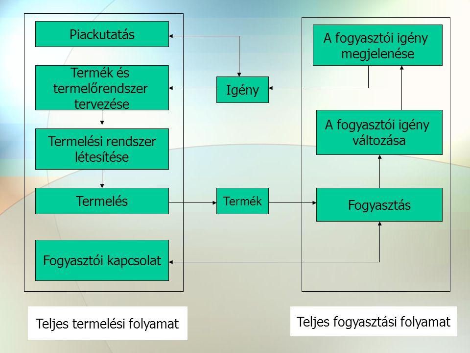 Piackutatás Termék és termelőrendszer tervezése Termelési rendszer létesítése Fogyasztói kapcsolat Teljes termelési folyamat A fogyasztói igény megjelenése A fogyasztói igény változása Fogyasztás Termelés Teljes fogyasztási folyamat Igény Termék