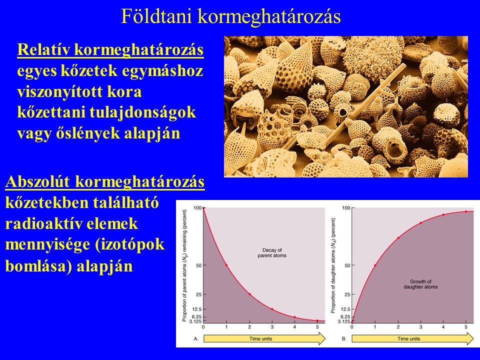 Földtani kormeghatározás Abszolút kormeghatározás kőzetekben található radioaktív elemek mennyisége (izotópok bomlása) alapján Relatív kormeghatározás