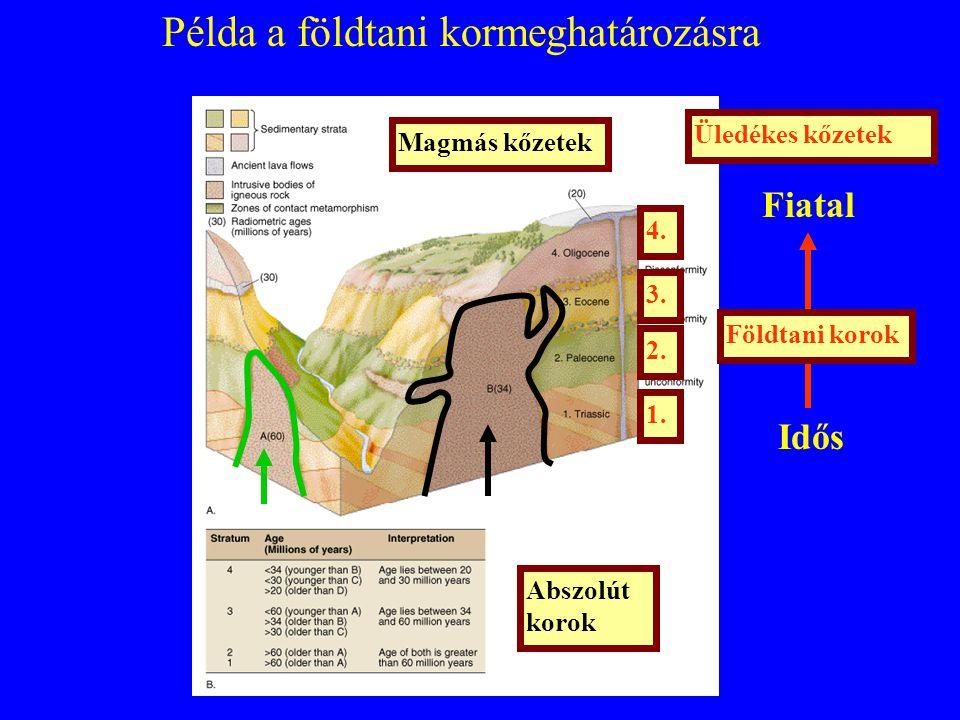Példa a földtani kormeghatározásra Abszolút korok Fiatal Idős 3. Magmás kőzetek Üledékes kőzetek Földtani korok 1. 2. 4.