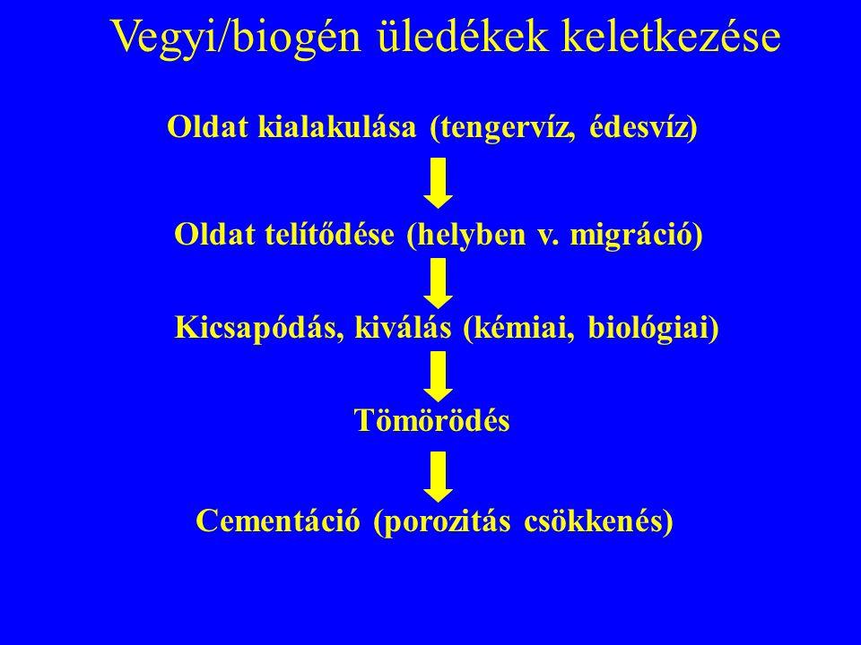 Vegyi/biogén üledékek keletkezése Oldat kialakulása (tengervíz, édesvíz) Cementáció (porozitás csökkenés) Oldat telítődése (helyben v. migráció) Kicsa