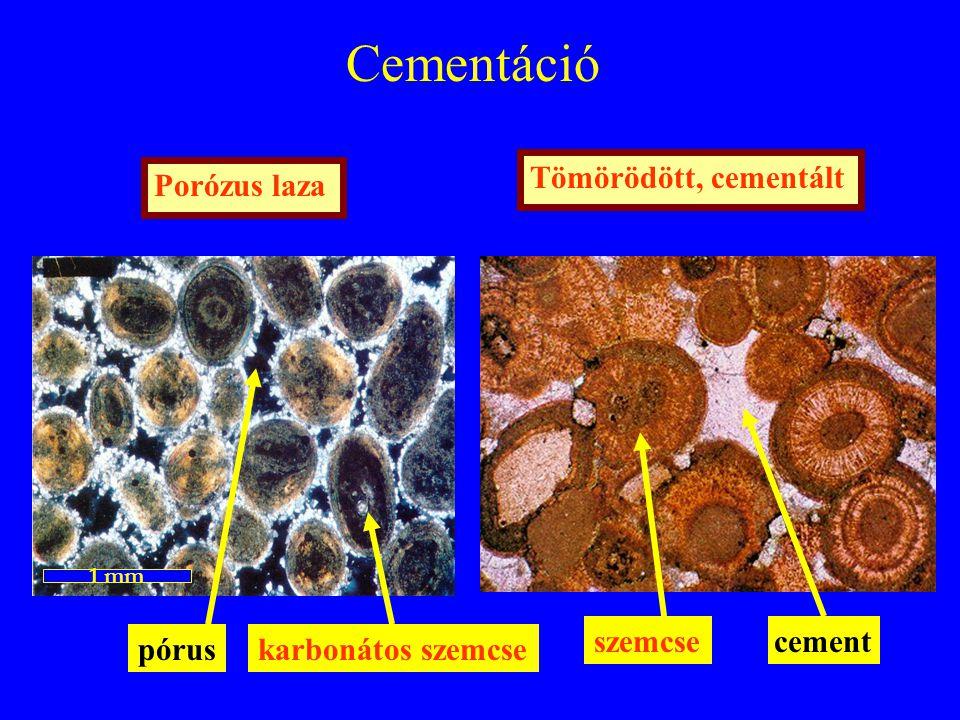 Cementáció Tömörödött, cementáltPorózus laza 1 mm cement pórus karbonátos szemcse szemcse