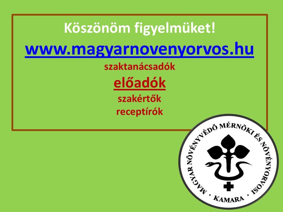 Köszönöm figyelmüket! www.magyarnovenyorvos.hu szaktanácsadók előadók szakértők receptírók www.magyarnovenyorvos.hu