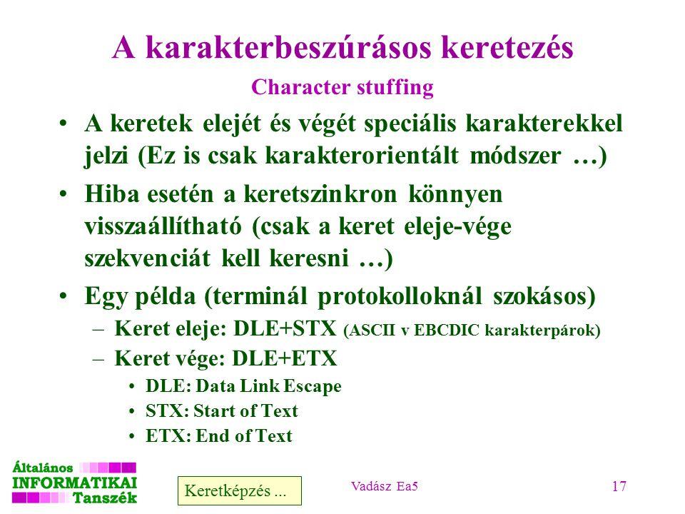 Vadász Ea5 17 A karakterbeszúrásos keretezés Character stuffing A keretek elejét és végét speciális karakterekkel jelzi (Ez is csak karakterorientált módszer …) Hiba esetén a keretszinkron könnyen visszaállítható (csak a keret eleje-vége szekvenciát kell keresni …) Egy példa (terminál protokolloknál szokásos) –Keret eleje: DLE+STX (ASCII v EBCDIC karakterpárok) –Keret vége: DLE+ETX DLE: Data Link Escape STX: Start of Text ETX: End of Text Keretképzés...