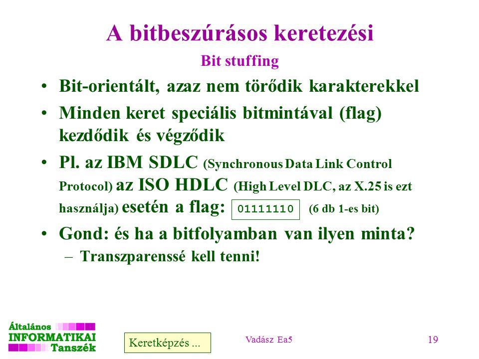 Vadász Ea5 19 A bitbeszúrásos keretezési Bit stuffing Bit-orientált, azaz nem törődik karakterekkel Minden keret speciális bitmintával (flag) kezdődik és végződik Pl.
