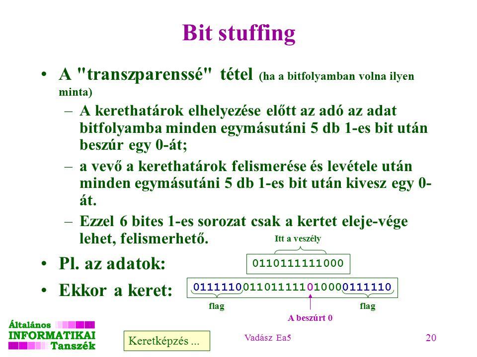 Vadász Ea5 20 Bit stuffing A transzparenssé tétel (ha a bitfolyamban volna ilyen minta) –A kerethatárok elhelyezése előtt az adó az adat bitfolyamba minden egymásutáni 5 db 1-es bit után beszúr egy 0-át; –a vevő a kerethatárok felismerése és levétele után minden egymásutáni 5 db 1-es bit után kivesz egy 0- át.