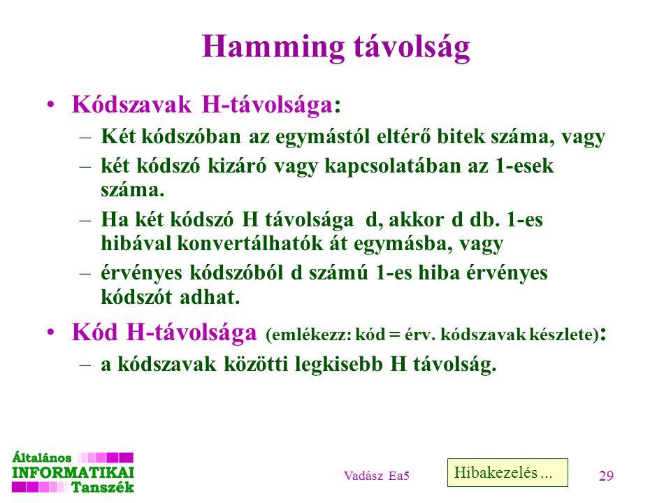 Vadász Ea5 29 Hamming távolság Kódszavak H-távolsága: –Két kódszóban az egymástól eltérő bitek száma, vagy –két kódszó kizáró vagy kapcsolatában az 1-esek száma.