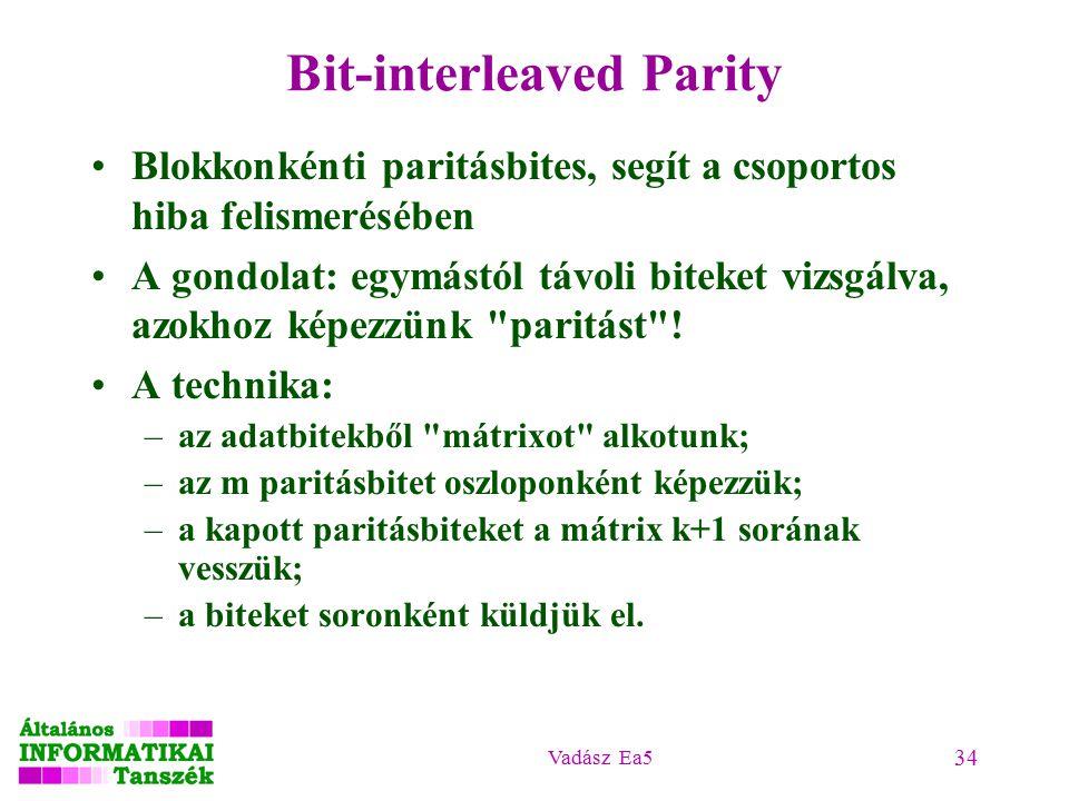 Vadász Ea5 34 Bit-interleaved Parity Blokkonkénti paritásbites, segít a csoportos hiba felismerésében A gondolat: egymástól távoli biteket vizsgálva, azokhoz képezzünk paritást .