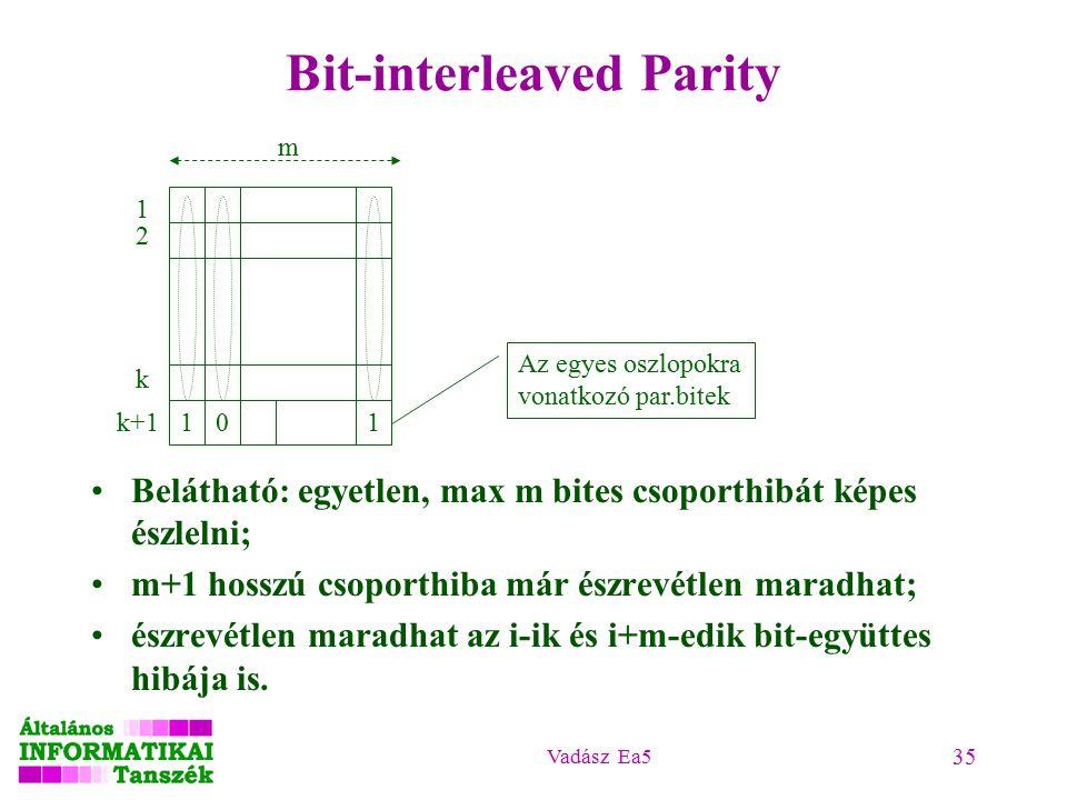 Vadász Ea5 35 Bit-interleaved Parity Belátható: egyetlen, max m bites csoporthibát képes észlelni; m+1 hosszú csoporthiba már észrevétlen maradhat; észrevétlen maradhat az i-ik és i+m-edik bit-együttes hibája is.