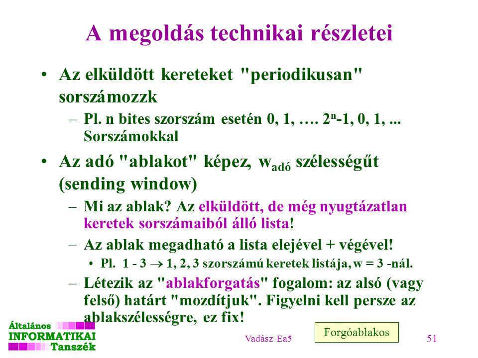 Vadász Ea5 51 A megoldás technikai részletei Az elküldött kereteket periodikusan sorszámozzk –Pl.