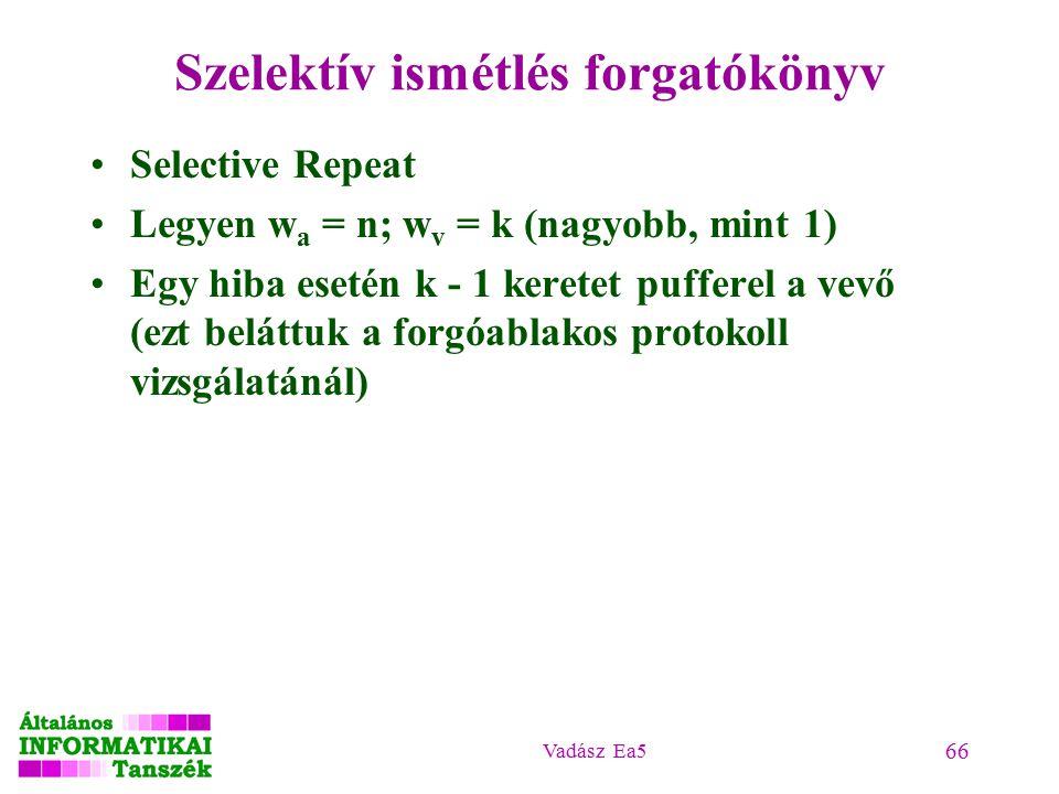 Vadász Ea5 66 Szelektív ismétlés forgatókönyv Selective Repeat Legyen w a = n; w v = k (nagyobb, mint 1) Egy hiba esetén k - 1 keretet pufferel a vevő (ezt beláttuk a forgóablakos protokoll vizsgálatánál)