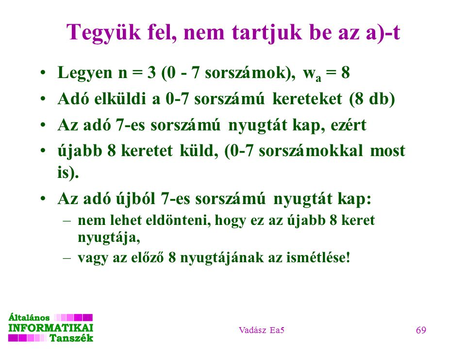 Vadász Ea5 69 Tegyük fel, nem tartjuk be az a)-t Legyen n = 3 (0 - 7 sorszámok), w a = 8 Adó elküldi a 0-7 sorszámú kereteket (8 db) Az adó 7-es sorszámú nyugtát kap, ezért újabb 8 keretet küld, (0-7 sorszámokkal most is).