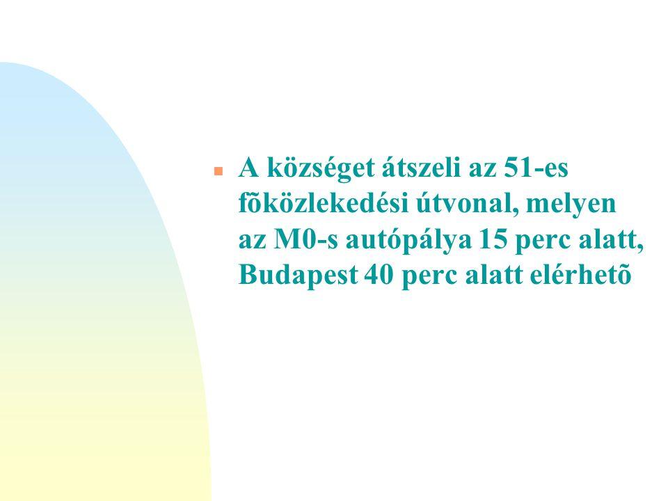 n A községet átszeli az 51-es fõközlekedési útvonal, melyen az M0-s autópálya 15 perc alatt, Budapest 40 perc alatt elérhetõ