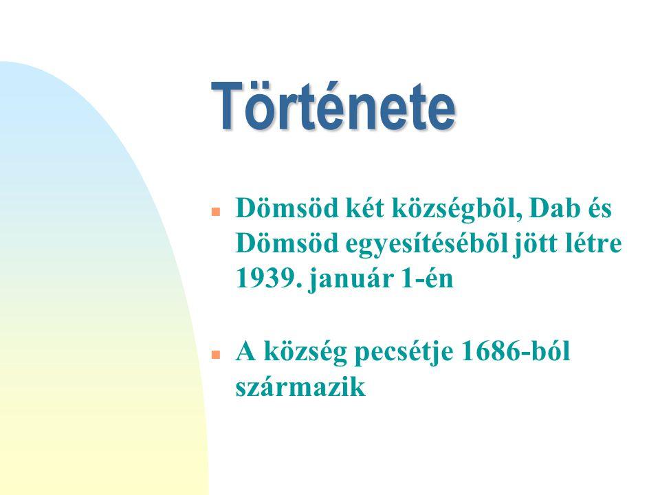 Története n Dömsöd két községbõl, Dab és Dömsöd egyesítésébõl jött létre 1939.