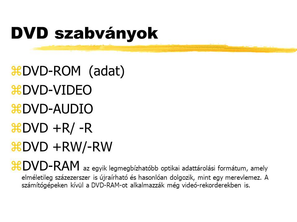 DVD szabványok zDVD-ROM (adat) zDVD-VIDEO zDVD-AUDIO zDVD +R/ -R zDVD +RW/-RW zDVD-RAM az egyik legmegbízhatóbb optikai adattárolási formátum, amely elméletileg százezerszer is újraírható és hasonlóan dolgozik, mint egy merevlemez.