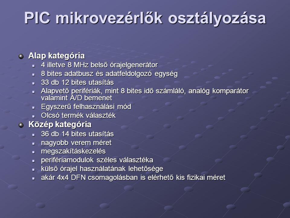 PIC mikrovezérlők osztályozása Alap kategória 4 illetve 8 MHz belső órajelgenerátor 4 illetve 8 MHz belső órajelgenerátor 8 bites adatbusz és adatfeld