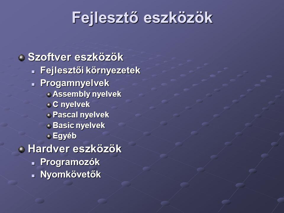 Fejlesztő eszközök Szoftver eszközök Fejlesztői környezetek Fejlesztői környezetek Progamnyelvek Progamnyelvek Assembly nyelvek C nyelvek Pascal nyelv