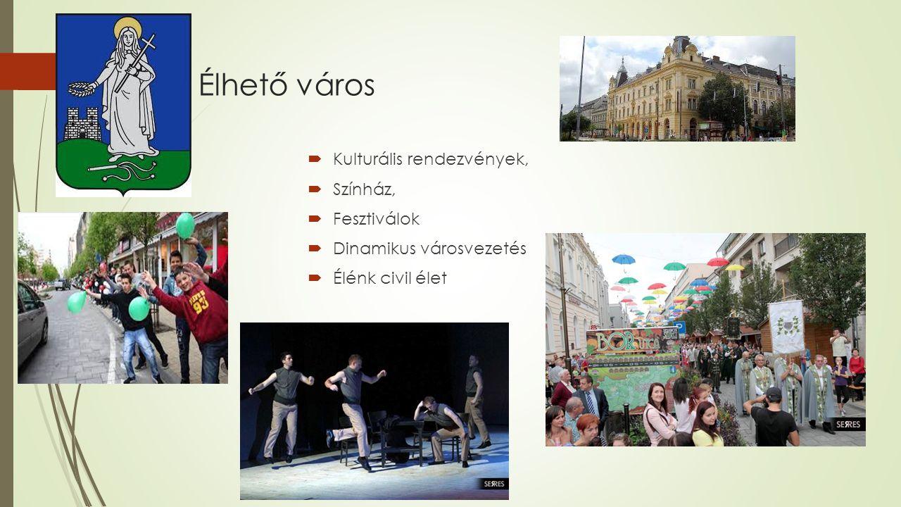 Élhető város  Kulturális rendezvények,  Színház,  Fesztiválok  Dinamikus városvezetés  Élénk civil élet