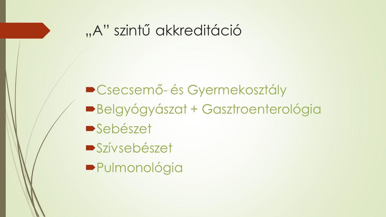 """""""A szintű akkreditáció  Csecsemő- és Gyermekosztály  Belgyógyászat + Gasztroenterológia  Sebészet  Szívsebészet  Pulmonológia"""