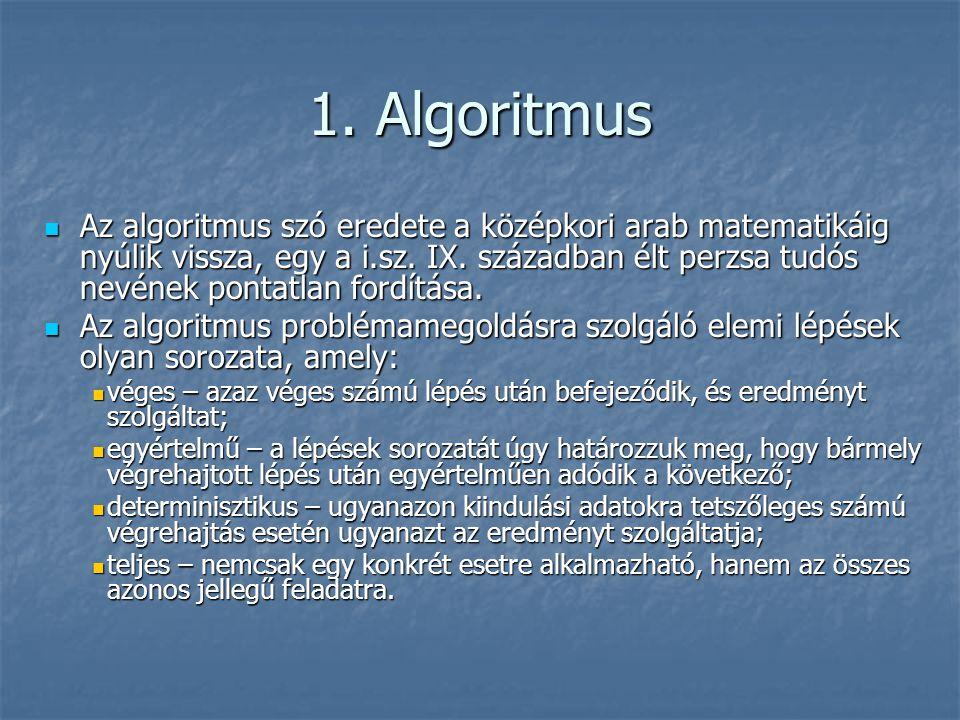 1. Algoritmus Az algoritmus szó eredete a középkori arab matematikáig nyúlik vissza, egy a i.sz. IX. században élt perzsa tudós nevének pontatlan ford