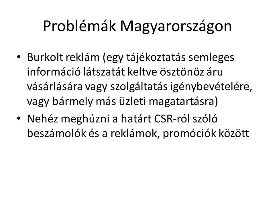 Problémák Magyarországon Burkolt reklám (egy tájékoztatás semleges információ látszatát keltve ösztönöz áru vásárlására vagy szolgáltatás igénybevétel