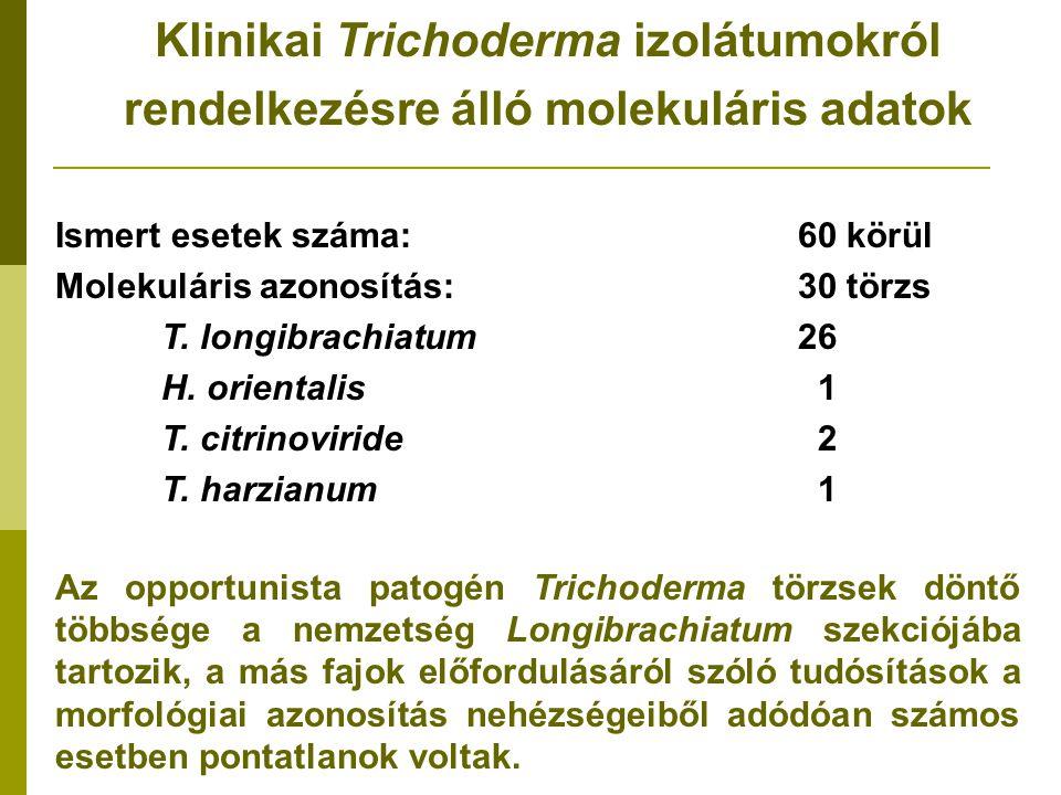 Ismert esetek száma:60 körül Molekuláris azonosítás:30 törzs T.