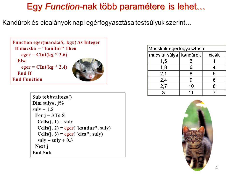 4 Egy Function-nak több paramétere is lehet… Sub tobbvaltozo() Dim suly#, j% suly = 1.5 For j = 3 To 8 Cells(j, 1) = suly Cells(j, 2) = eger( kandur , suly) Cells(j, 3) = eger( cica , suly) suly = suly + 0.3 Next j End Sub Function eger(macska$, kg#) As Integer If macska = kandur Then eger = CInt(kg * 3.6) Else eger = CInt(kg * 2.4) End If End Function Kandúrok és cicalányok napi egérfogyasztása testsúlyuk szerint…