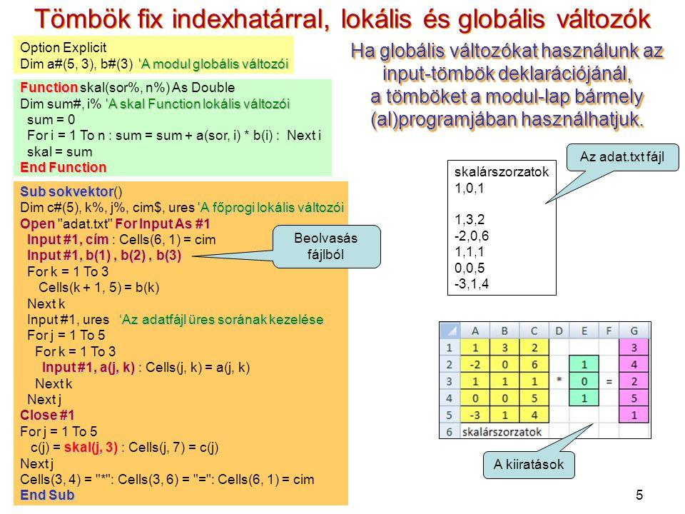 5 Tömbök fix indexhatárral, lokális és globális változók Option Explicit 'A modul globális változói Dim a#(5, 3), b#(3) 'A modul globális változói Fun