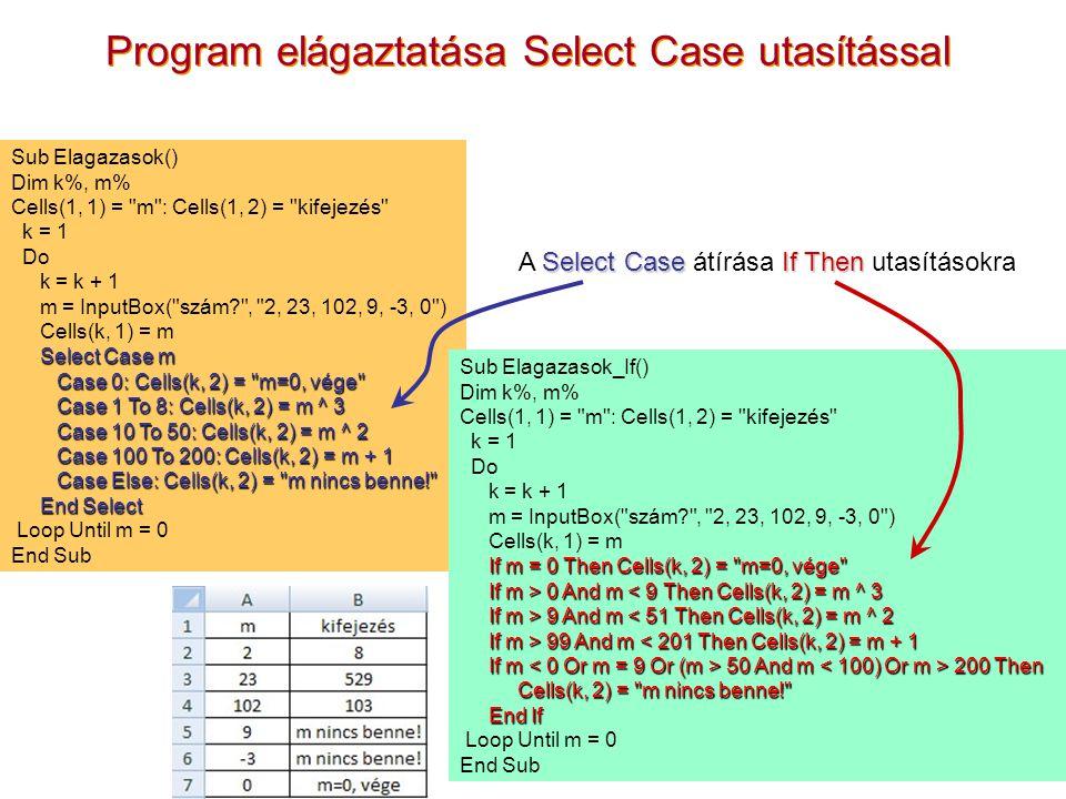 7 Program elágaztatása Select Case utasítással Sub Elagazasok() Dim k%, m% Cells(1, 1) =