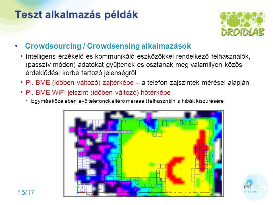 15/17 Teszt alkalmazás példák Crowdsourcing / Crowdsensing alkalmazások Intelligens érzékelő és kommunikáló eszközökkel rendelkező felhasználók, (passzív módon) adatokat gyűjtenek és osztanak meg valamilyen közös érdeklődési körbe tartozó jelenségről Pl.