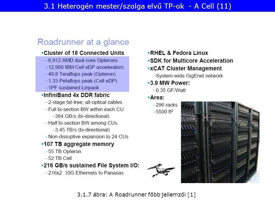 3.1.7 ábra: A Roadrunner főbb jellemzői [1] 3.1 Heterogén mester/szolga elvű TP-ok - A Cell (11)