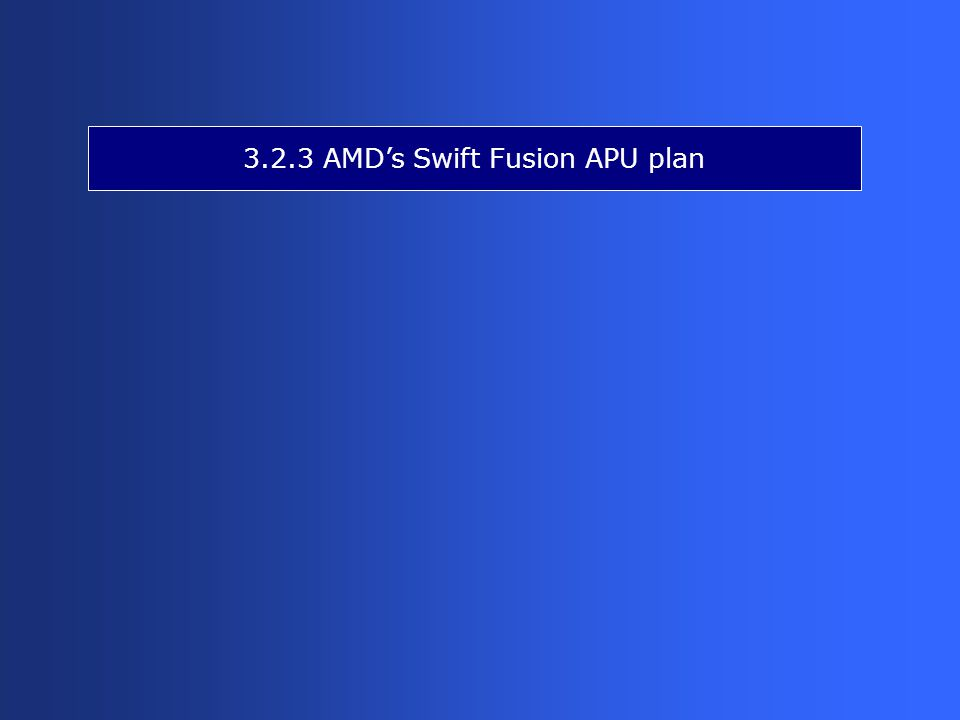 3.2.3 AMD's Swift Fusion APU plan