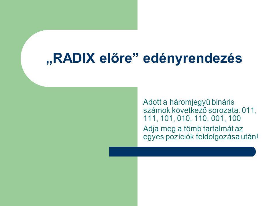 """""""RADIX előre edényrendezés Adott a háromjegyű bináris számok következő sorozata: 011, 111, 101, 010, 110, 001, 100 Adja meg a tömb tartalmát az egyes pozíciók feldolgozása után!"""