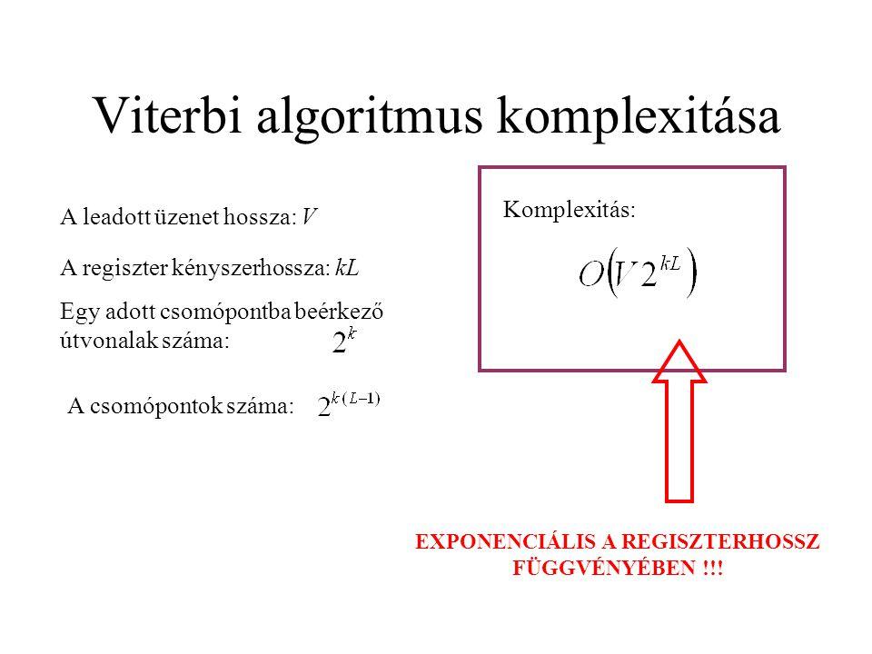 Viterbi algoritmus komplexitása A leadott üzenet hossza: V A regiszter kényszerhossza: kL Egy adott csomópontba beérkező útvonalak száma: A csomópontok száma: Komplexitás: EXPONENCIÁLIS A REGISZTERHOSSZ FÜGGVÉNYÉBEN !!!